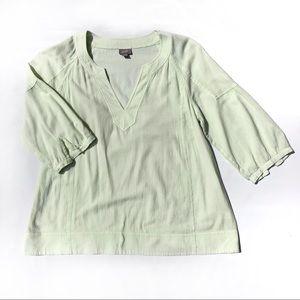 Light Lime Green Quarter Sleeve V Neck Blouse